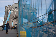 The start of repairs to Londons Tower Bridge, on 10th October 2016, in London, England. Closed for repairs to traffic and disrupting this major Thames crossing and surrounding roads for the next three months.