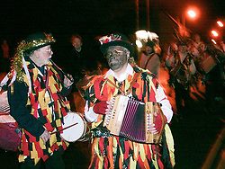 Wath Morris Men Dance in prosession on thier way to Wath Town Square on Sunday Night as part of the Wath Fire Festival<br /><br />Sunday23-12-2001