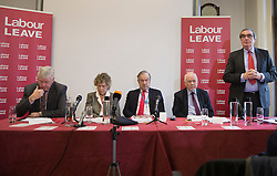 © Licensed to London News Pictures. 20/01/2016. London, UK. (L-R) Graham Stringer MP, Kate Hoey MP, party donor John Mills, Kelvin Hopkins MP and Roger Godsiff MP help to launch the Labour Party's 'Labour Leave' EU referendum campaign.  A referendum on the United Kingdom's membership of the European Union may be held as soon as this summer.  Photo credit: Peter Macdiarmid/LNP