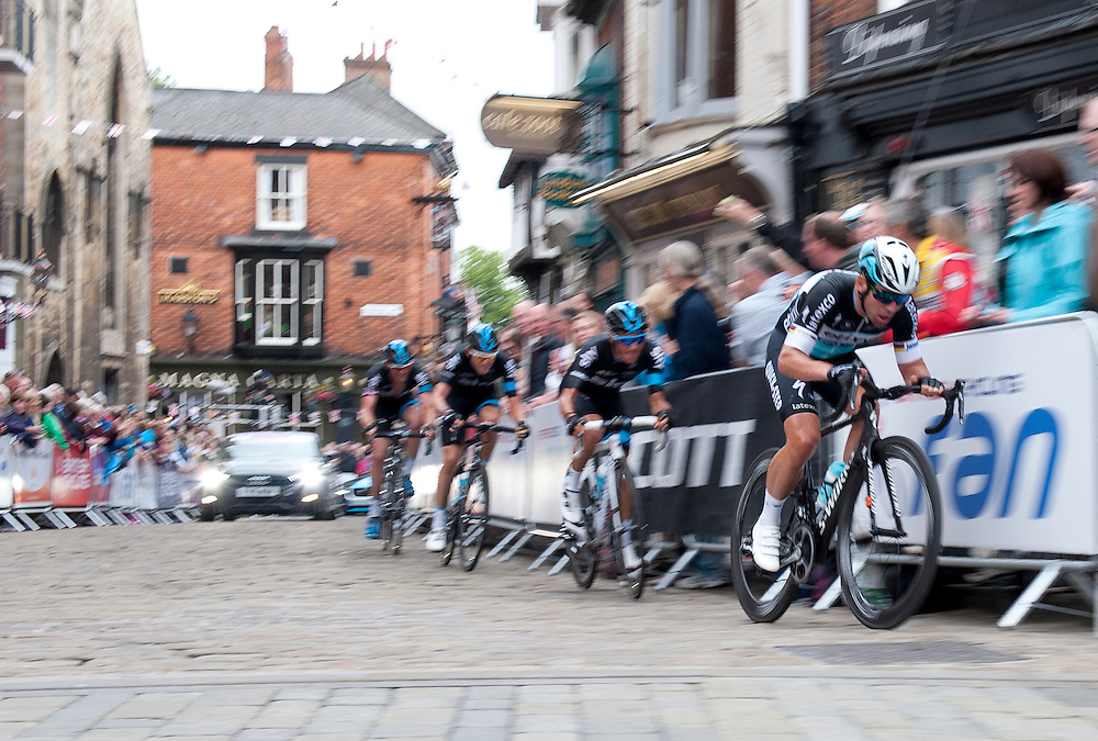 Mark Cavendish MBE (Etixx - QuickStep) leads Peter Kennaugh (Team Sky) into Bailgate on the penultimate lap<br /> <br /> Photographer Chris Vaughan/CameraSport <br /> <br /> Cycling - 2015 British Cycling Road Championships - Sunday 28th June 2015 - Lincoln<br /> <br /> © CameraSport - 43 Linden Ave. Countesthorpe. Leicester. England. LE8 5PG - Tel: +44 (0) 116 277 4147 - admin@camerasport.com - www.camerasport.com