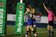 Tomos Williams of Cardiff Blues (9) celebrates after he scores  his teams 1st try. European Rugby Challenge Cup, pool 2 match, Cardiff Blues v Toulouse at the BT Cardiff Arms Park, in Cardiff, South Wales on Sunday 14th January 2018.<br /> pic by  Andrew Orchard, Andrew Orchard sports photography.
