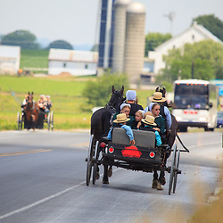 An Amish family ride in an open horse-drawn wagon.