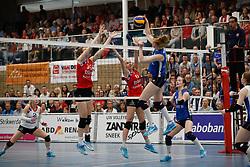 20170430 NED: Eredivisie, VC Sneek - Sliedrecht Sport: Sneek<br />Klaske Sikkes (10) of VC Sneek, Lieze Braaksma (6) of VC Sneek, Carlijn Ghijssen - Jans (10) of Sliedrecht Sport <br />©2017-FotoHoogendoorn.nl / Pim Waslander