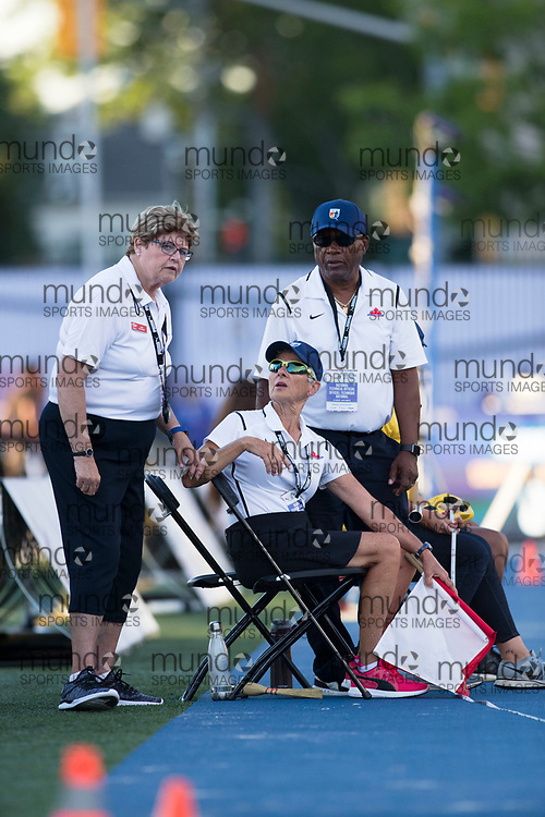 Toronto, ON -- 10 August 2018: triple jump officiating crew at the 2018 North America, Central America, and Caribbean Athletics Association (NACAC) Track and Field Championships held at Varsity Stadium, Toronto, Canada. (Photo by Sean Burges / Mundo Sport Images).
