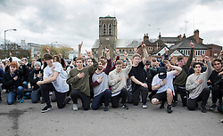 © Licensed to London News Pictures. 04/03/2017. Guildford, UK. Free runners hold minute's silence at a memorial to remember Nye Newman who died in January. Nye Newman, whose death is thought not to be related to Parkour, died in Paris. Free running or Parkour involves jumping and climbing on building, railings and walls.  Photo credit: Peter Macdiarmid/LNP