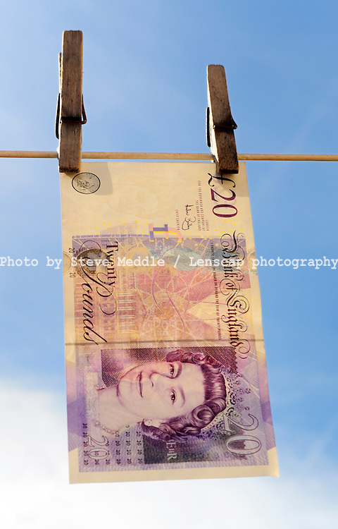Twenty Pound Note Hanging from a Washing Line