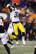 Pittsburgh Steelers defensive back Mike Hilton (31) leaps while trying to block a pass during the 2017 NFL week 13 regular season football game against the Cincinnati Bengals, Monday, Dec. 4, 2017 in Cincinnati. The Steelers won the game 23-20. (©Paul Anthony Spinelli)