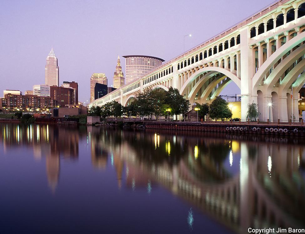 Cleveland skyline taken from Flats Detroit-Superior birdge in foreground