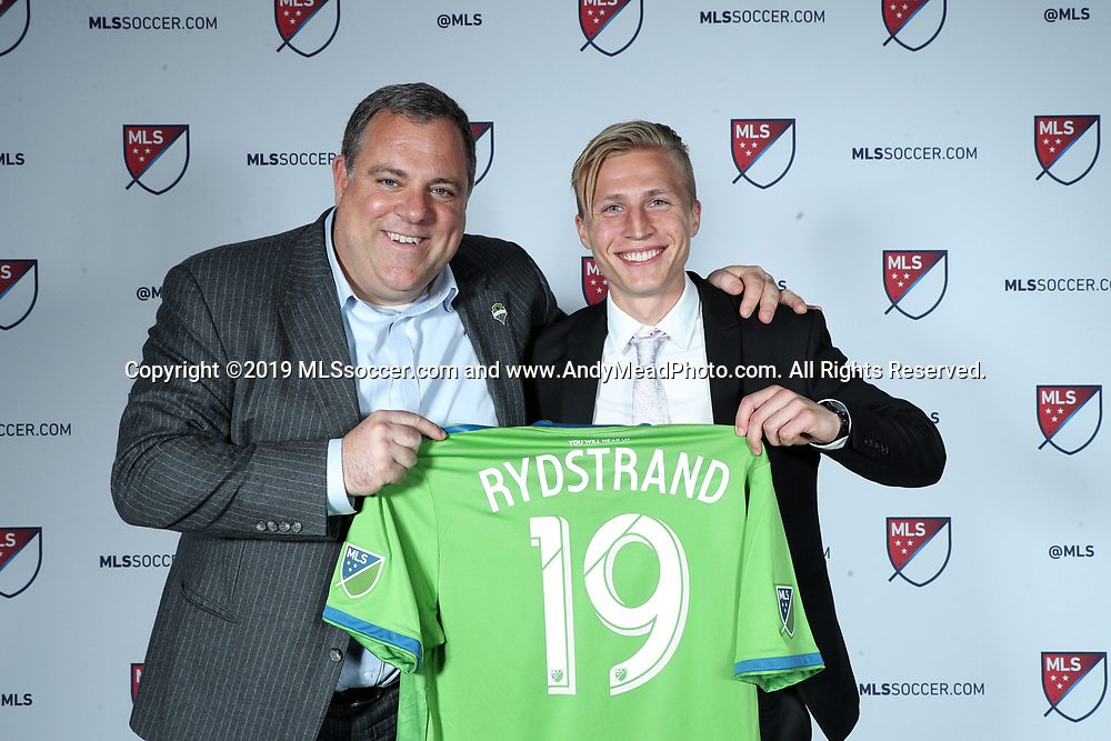 CHICAGO, IL - JANUARY 11: Joel Rydstrand was taken with the 44th overall pick by Seattle Sounders FC. With general manager Garth Lagerwey (left). The MLS SuperDraft 2019 presented by adidas was held on January 11, 2019 at McCormick Place in Chicago, IL.