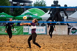 Bevc/Kersnik play against Lovsin/Lovsin during game for Third place of Beach Volleyball Slovenian National Championship 2018, on July 21, 2018 in Kranj, Slovenia. Photo by Urban Urbanc / Sportida