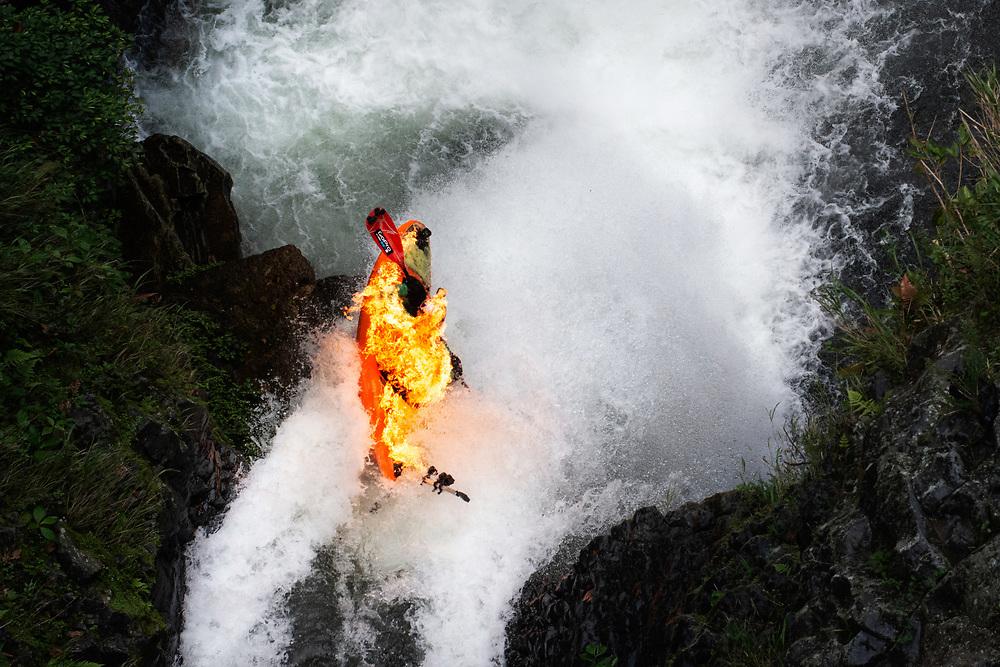 Rafa Ortiz dropping San Pedro waterfall in Mexico during Flaming Waterfall project.