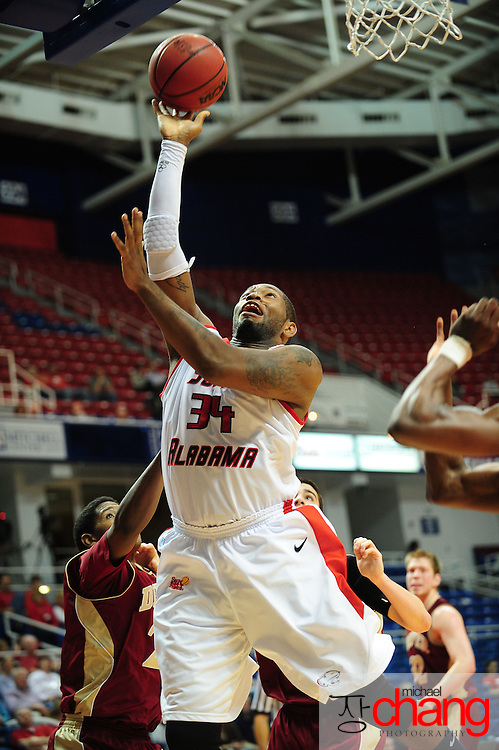 South Alabama's forward Antione Lundy (34) takes a shot in the second half of play in Mobile, AL. Denver defeated South Alabama 67-50 on January 7, 2012.