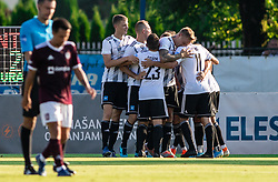 Players of Mura celebrate after scoring second goal during football match between NK Triglav and NS Mura in 5th Round of Prva liga Telekom Slovenije 2019/20, on August 10, 2019 in Sports park, Kranj, Slovenia. Photo by Vid Ponikvar / Sportida