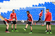 Joe Allen © of Wales in action during the Wales football team training at the Cardiff City Stadium in Cardiff, South Wales on Wed 23rd March 2016. The team are preparing for their forthcoming friendly against Northern Ireland.<br /> pic by  Andrew Orchard, Andrew Orchard sports photography.