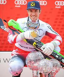 THEMENBILD - Skistar Marcel Hirscher gibt am 4. September seine Zukunftspläne in Salzburg bekannt. Seit seinem ersten Weltcupsieg 2009 in Val d'Isere gewann er den Gesamtweltcup siebenmal in Folge und steht derzeit bei insgesamt 68 Siegen. Damit zählt er zu den erfolgreichsten Skirennläufern der Geschichte. Hier im Bild: Marcel Hirscher (AUT) mit der Kristallkugel für den Sieg im Gesamtweltcup, Saison 2014/2015 // Ski star Marcel Hirscher announces his plans for the future in Salzburg on 4 September. Since winning his first World Cup victory in Val d'Isere in 2009, he has won the overall World Cup seven times in a row and currently has a total of 68 victories. He is one of the most successful ski racers in history. Here in the picture: Marcel Hirscher (AUT) with the crystal ball for the victory in the overall World Cup season 2014/2015. EXPA Pictures © 2019, PhotoCredit: EXPA/ Erich Spiess