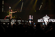 Asuka celebrates after defeating Bayley to win the NXT Women's Championship during NXT Takeover: Dallas on April 1, 2016 in Dallas, Texas.