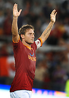 esultanza di Francesco Totti (Roma)<br /> Roma vs Gent 3-1<br /> Europa League <br /> Stadio Olimpico, Roma, 30/07/2009.<br /> Photo Antonietta Baldassarre Inside