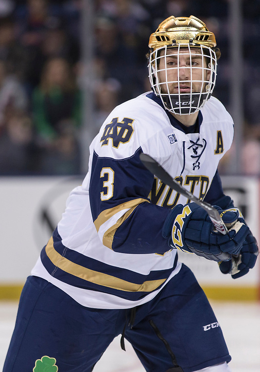 March 10, 2018:  Notre Dame defenseman Jordan Gross (3) during NCAA Hockey game action between the Notre Dame Fighting Irish and the Penn State Nittany Lions at Compton Family Ice Arena in South Bend, Indiana.  Notre Dame defeated Penn State 3-2.  John Mersits/CSM