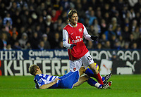 Photo: Leigh Quinnell/Sportsbeat Images.<br /> Reading v Arsenal. The FA Barclays Premiership. 12/11/2007. Readings Brynjar Gunnarsson brings down Arsenals Alex Hleb.