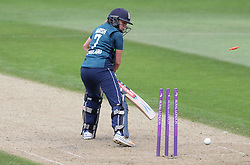 England's Laura Marsh is bowled by South Africa's Shabnim Ismail for 15 during the ICC Women's Championship match at Blackfinch New Road, Worcester.