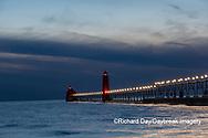 64795-03308 Grand Haven Lighthouse at sunset on Lake Michigan Grand Haven, MI
