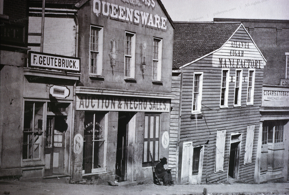 In Atlanta, Georgia a slave auction house advertises its business.