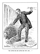 """""""He Loves Me - He Loves Me Not - He..."""" (British Prime Minister Neville Chamberlain plucking spikes from the Italian porcupine Benito Mussolini in a 'Change of Foreign Policy')"""