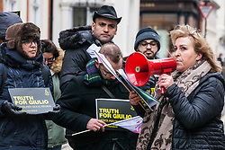London, UK. 2nd February, 2019. A speaker from the University and College Union (UCU) addresses campaigners from Amnesty International UK and the family and friends of  Cambridge University PhD student Giulio Regeni at a vigil outside the Egyptian embassy to mark three years since his mutilated body was discovered in a ditch outside Cairo. A letter was also delivered to the embassy calling for an independent investigation into the disappearance, torture and death of the 28-year-old student.