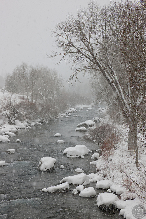 """""""Snowy Truckee River 2"""" - Photograph of a snowy Truckee River shot while it was snowing in Downtown Truckee, California."""