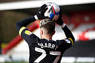 Jack Aitchison of Stevenage hold the ball during a throw in during the EFL Sky Bet League 2 match between Stevenage and Barrow at the Lamex Stadium, Stevenage, England on 27 March 2021.