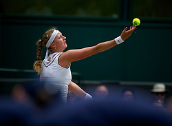 30.06.2011, Wimbledon, London, GBR, WTA Tour, Wimbledon Tennis Championships, im Bild Petra Kvitova (CZE) in action during the Ladies' Singles Semi-Final match on day ten of the Wimbledon Lawn Tennis Championships at the All England Lawn Tennis and Croquet Club. EXPA Pictures © 2011, PhotoCredit: EXPA/ Propaganda/ David Rawcliffe +++++ ATTENTION - OUT OF ENGLAND/UK +++++