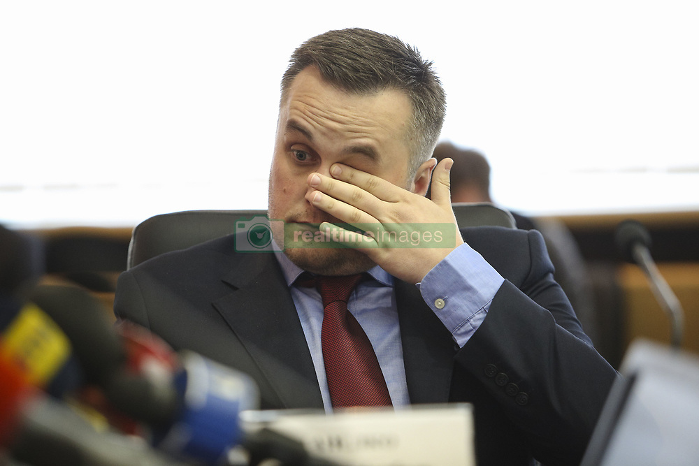 May 22, 2018 - Kiev, Ukraine - The First Vice President of Football Federation of Ukraine Nazar Kholodnytsky talks to media during the press conference in Kyiv, Ukraine, May 22, 2018. Ukrainian police in cooperation with Specialized Anti-Corruption Prosecutor's Office (SAPO) investigate the case on match-fixing by referees, FC's presidents and top management of National Football Federation. (Credit Image: © Sergii Kharchenko/NurPhoto via ZUMA Press)
