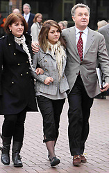 Katherine Goldberg leaving Isleworth Crown Court, West London  with her parents Monday, 28th November 2011 after being  sentenced for groping a male air steward and being drunk on an aircraft .   Photo by:  i-Images