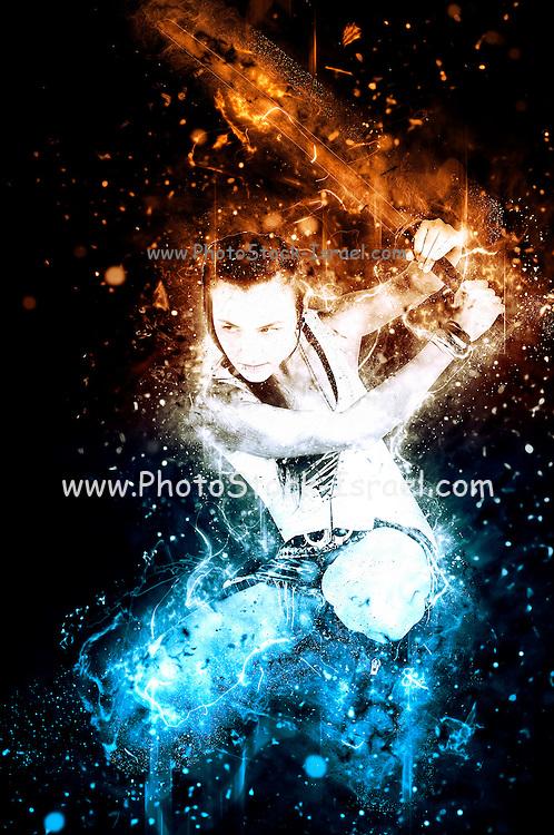 young punk teen girl wielding a flaming sword
