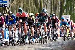 Demi Vollering (NED) and Leah Thomas (USA) on Kemmelberg at Gent Wevelgem - Elite Women 2019, a 136.9 km road race from Ieper to Wevelgem, Belgium on March 31, 2019. Photo by Sean Robinson/velofocus.com