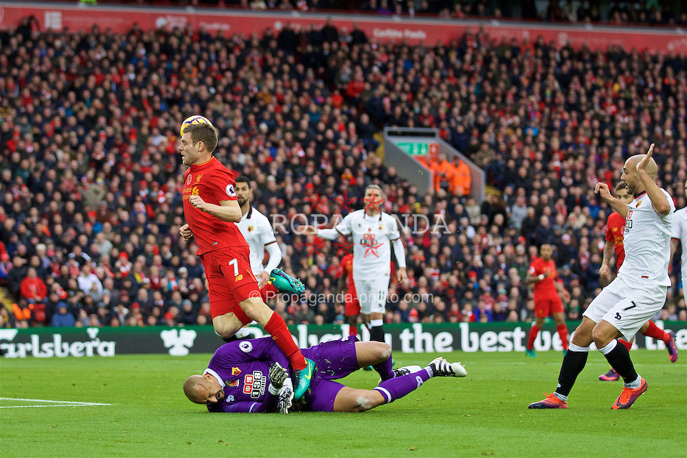 LIVERPOOL, ENGLAND - Sunday, November 6, 2016: Liverpool's James Milner in action against Watford's goalkeeper Heurelho Gomes during the FA Premier League match at Anfield. (Pic by David Rawcliffe/Propaganda)