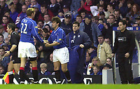 Rangers v  Motherwell, Scottish Premier Division.<br />Ibrox Park.       Pic Ian Stewart, December 10th. 2000.<br /><br />Tore Andre Flo leaves  the field to be substituted by Tugay Kerimoglu