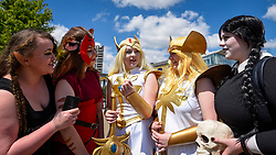 © Licensed to London News Pictures. 24/05/2019. LONDON, UK.  Cosplayers attend the opening day of the bi-annual MCM Comic Con event at the Excel Centre in Docklands.  The event celebrates popular culture such as video, games, manga and anime providing many attendees with the opportunity to dress up as their favourite characters.  Photo credit: Stephen Chung/LNP