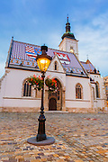 Evening light on Saint Mark's Church in old town Gradec, Zagreb, Croatia