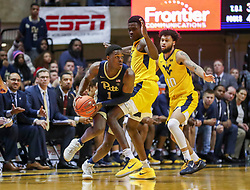 Dec 8, 2018; Morgantown, WV, USA; Pittsburgh Panthers guard Xavier Johnson (1) tries to pass the ball during the second half against the West Virginia Mountaineers at WVU Coliseum. Mandatory Credit: Ben Queen-USA TODAY Sports