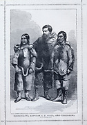 'Charles Francis Hall (1821-1871) American Arctic explorer, on his first expedition 1860-1863, with his Inuit (Eskimo) guides Ebierbing ('Joe') and his wife Tookoolito ('Hannah') in Arctic dress.'