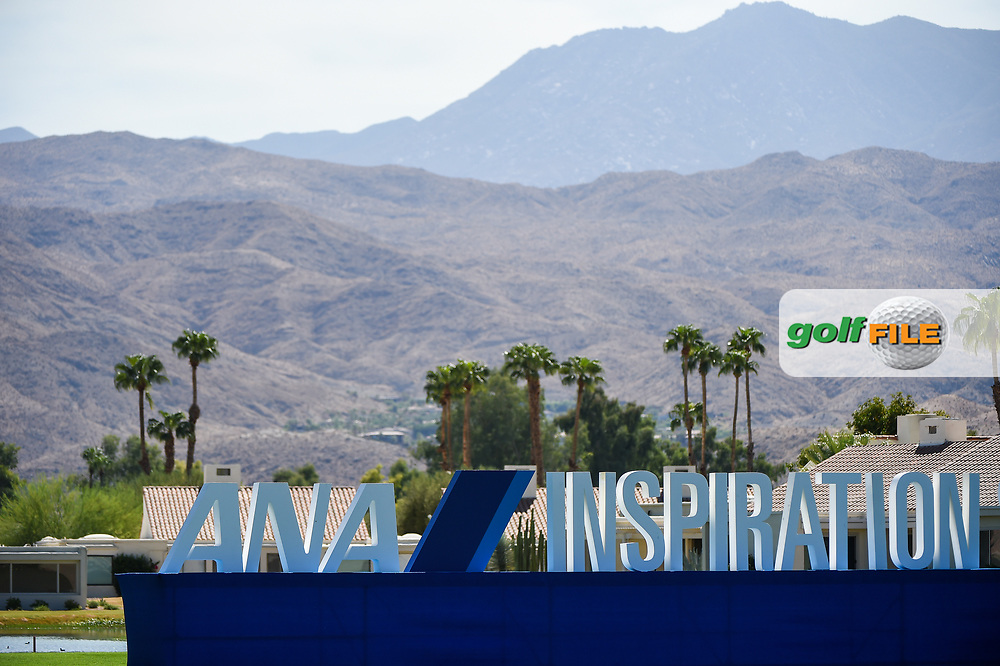 ANA Inspiration signage bakes in the desert heat near the green on 18 during the preview of the 2020 ANA Inspiration, Mission Hills C.C., Rancho Mirage, California, USA. 9/9/2020.<br /> Picture: Golffile | Ken Murray<br /> <br /> All photo usage must carry mandatory copyright credit (© Golffile | Ken Murray)
