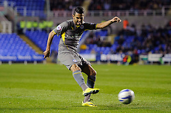 Riyad Mahrez (FRA) of Leicester City shoots - Photo mandatory by-line: Rogan Thomson/JMP - 07966 386802 - 14/04/2014 - SPORT - FOOTBALL - Madejski Stadium, Reading - Reading v Leicester City - Sky Bet Football League Championship.