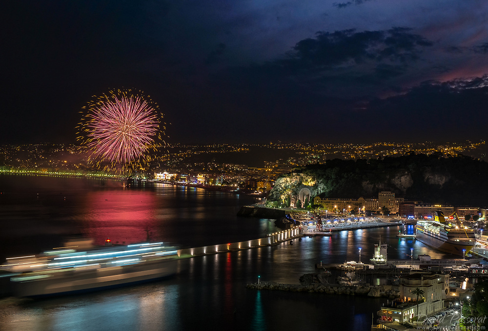 Fireworks over the port of the town of Nice