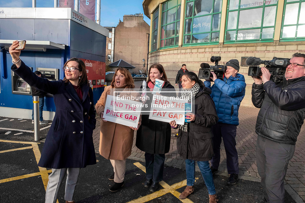 Pictured: Christine Jardine, Emma Walker, Mental Health Spokesperson and Jenny Marr Candidate for Berwickshire, Roxburgh and Selkirk. and supporters<br /><br /><br />Christine Jardine was in Edinburgh today to announce that the Lib Dems will end double whammy of gender price and pay gap. Scottish Liberal Democrat candidate for Edinburgh West, Christine Jardine will announced plans to tackle<br />discrimination in the workplace by expanding reporting requirements on large companies.<br /><br />She was joined by Emma Walker, Mental Health Spokesperson and Jenny Marr Candidate for Berwickshire, Roxburgh and Selkirk.<br /><br />Ger Harley   EEm 14 November 2019