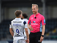 Rugby Union - 2019 / 2020 Gallagher Premiership - Worcester Warriors vs Bristol Bears<br /> <br /> Referee Wayne Barnes with Bristol Bears' Harry Randall, at Sixways.<br /> <br /> COLORSPORT/ASHLEY WESTERN
