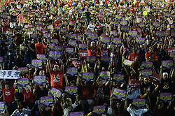 October 14, 2017 - Petaling Jaya, Selangor, Malaysia - Thousands of protesters hold placards reading ''Love Malaysia, End Kleptocracy'' during an anti-kleptocracy rally. The Rally to mark the end of a nationwide tour by the opposition coalition on the alleged embezzlement of state-owned 1 Malaysia Development Berhad (1MDB) funds. (Credit Image: © Kepy via ZUMA Wire)