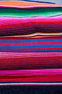 The coastal town of Loreto, Gulf of California, Baja California, Mexico.  Colorful blankets for sale.