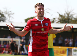 August 28, 2017 - London, United Kingdom - Jake Robinson of Billericay Towncelebrates scoring his sides third goal .during Bostik League Premier Division match between Thurrock vs Billericay Town at  Ship Lane Ground, Aveley on 28 August 2017  (Credit Image: © Kieran Galvin/NurPhoto via ZUMA Press)