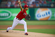 ARLINGTON, TX - JULY 09:  Yu Darvish #11 of the Texas Rangers pitches during the first inning against the Houston Astros on July 9, 2014 at Globe Life Park in Arlington in Arlington, Texas.  (Photo by Cooper Neill/Getty Images) *** Local Caption *** Yu Darvish